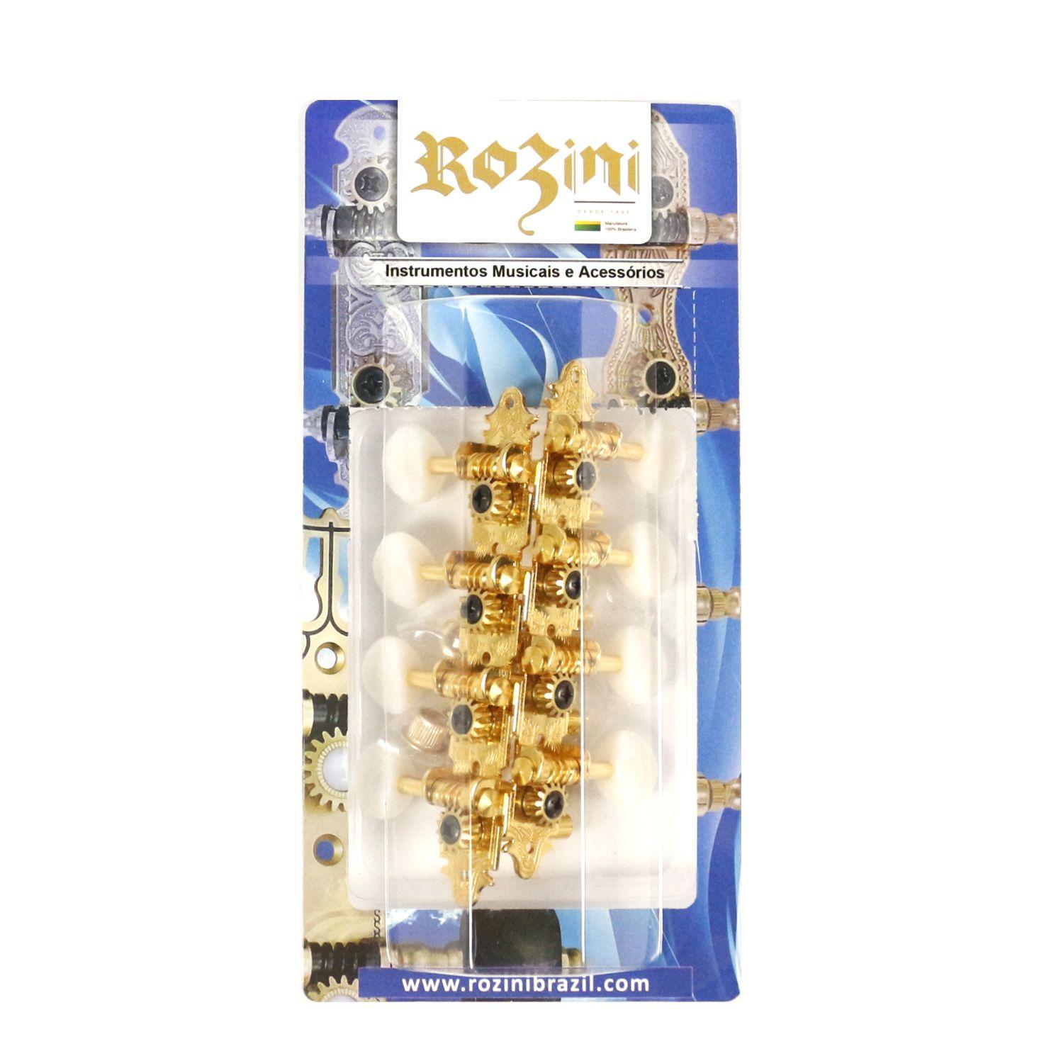 Jogo de Tarraxas para Bandolim Pino Fino Dourada Botão Claro - Rozini RA346GPK-SW