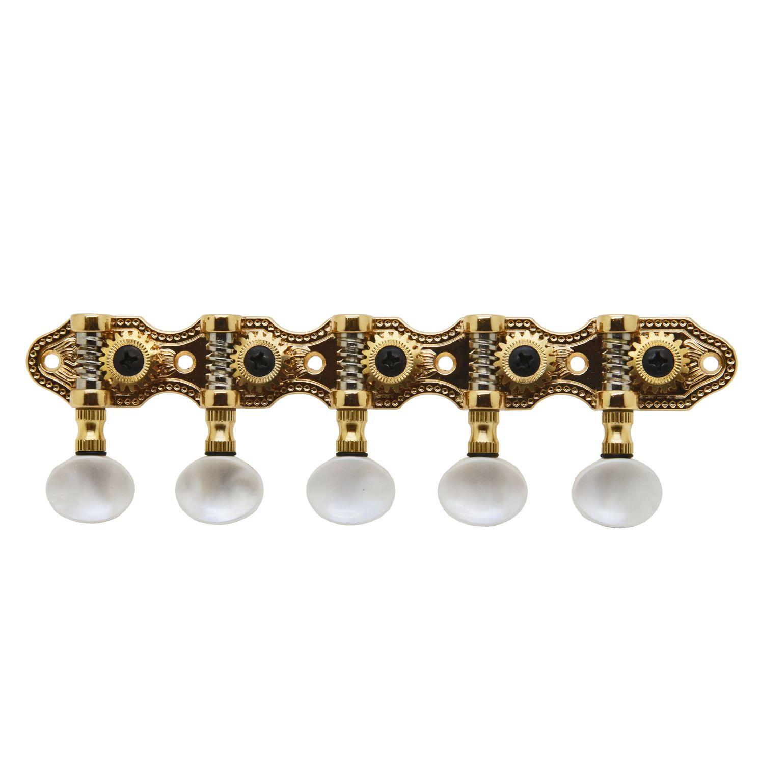 Jogo de Tarraxas para BANDOLIM/VIOLA Pino FOLK Dourada Botão Claro - Rozini RAX339GPK.SW