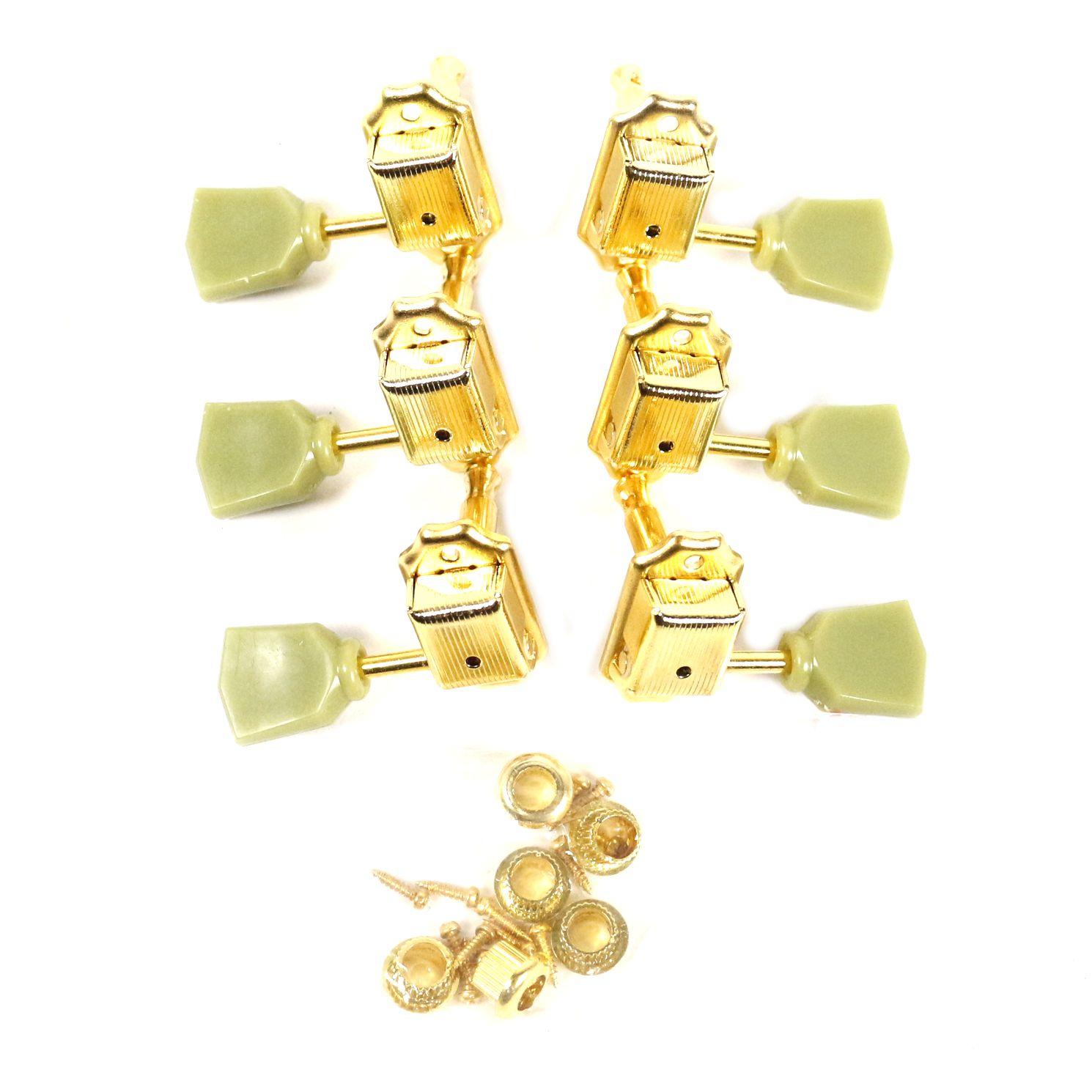 Jogo de Tarraxas para Guitarra LES Paul 3+3 MHL-52D Dourada e Vintage Green - Ronsani