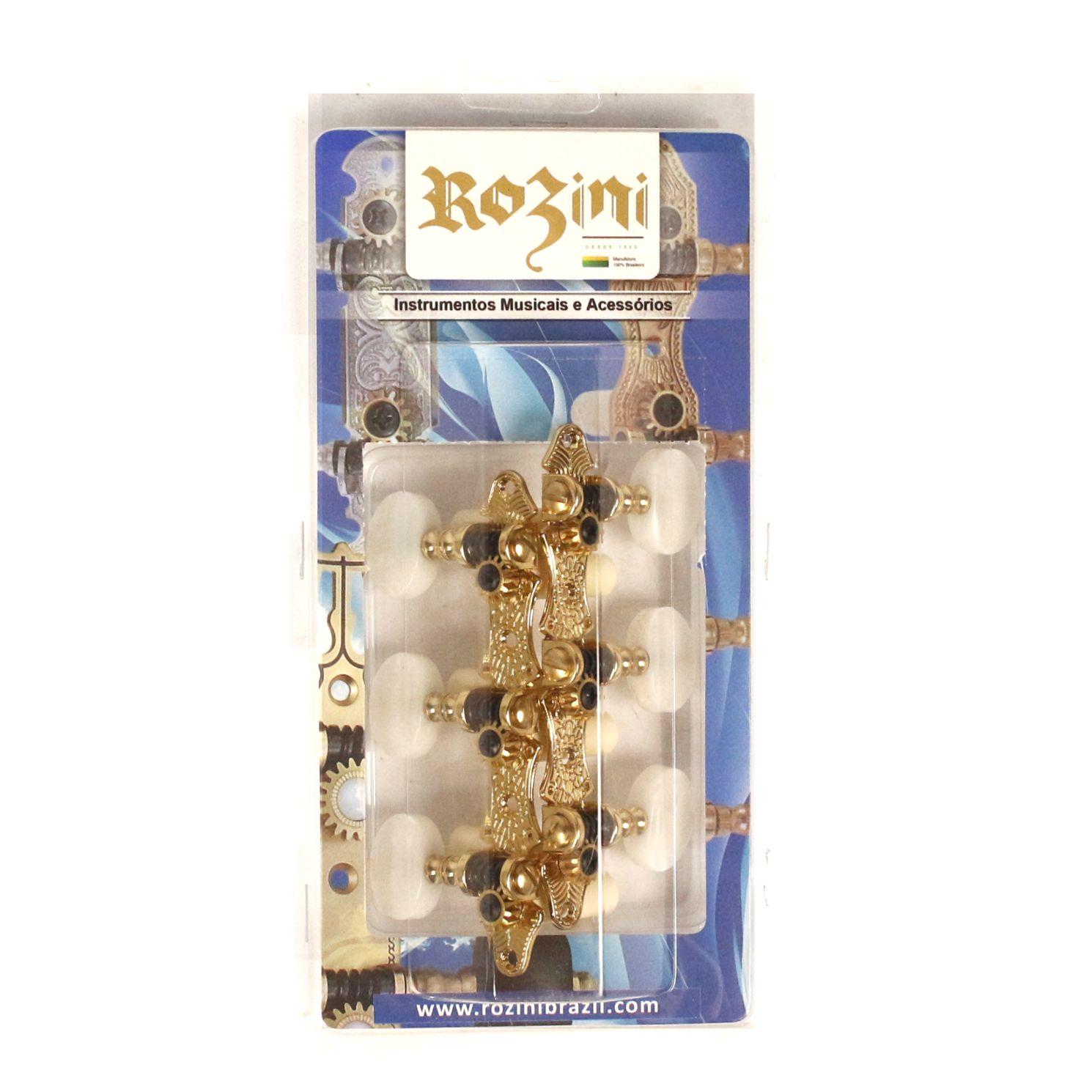 Jogo de Tarraxas Rozini para Violão NYLON 6 Cordas Dourada Botão Claro - RA305GKPG-P2W