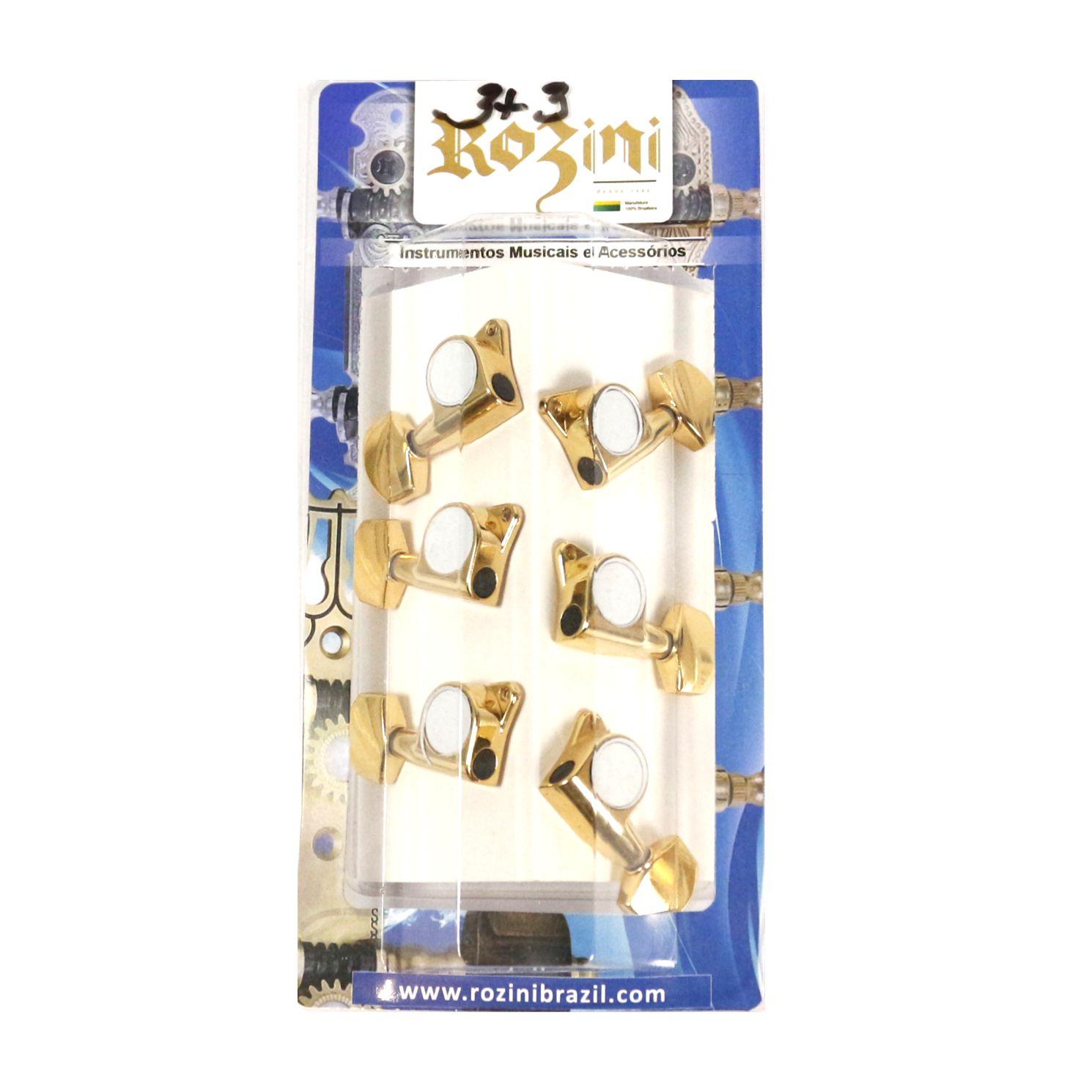 Jogo de Tarraxas Violão AÇO Pino FOLK 3+3 Blindada Dourado - Rozini RA333G-D2