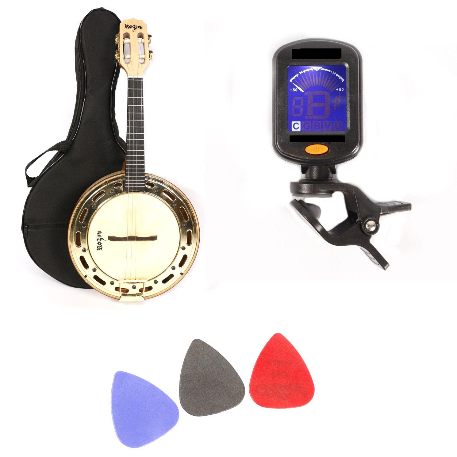 Kit Banjo Profissional Elétrico Claro Rozini com Capa, Palhetas e Afinador RJ13