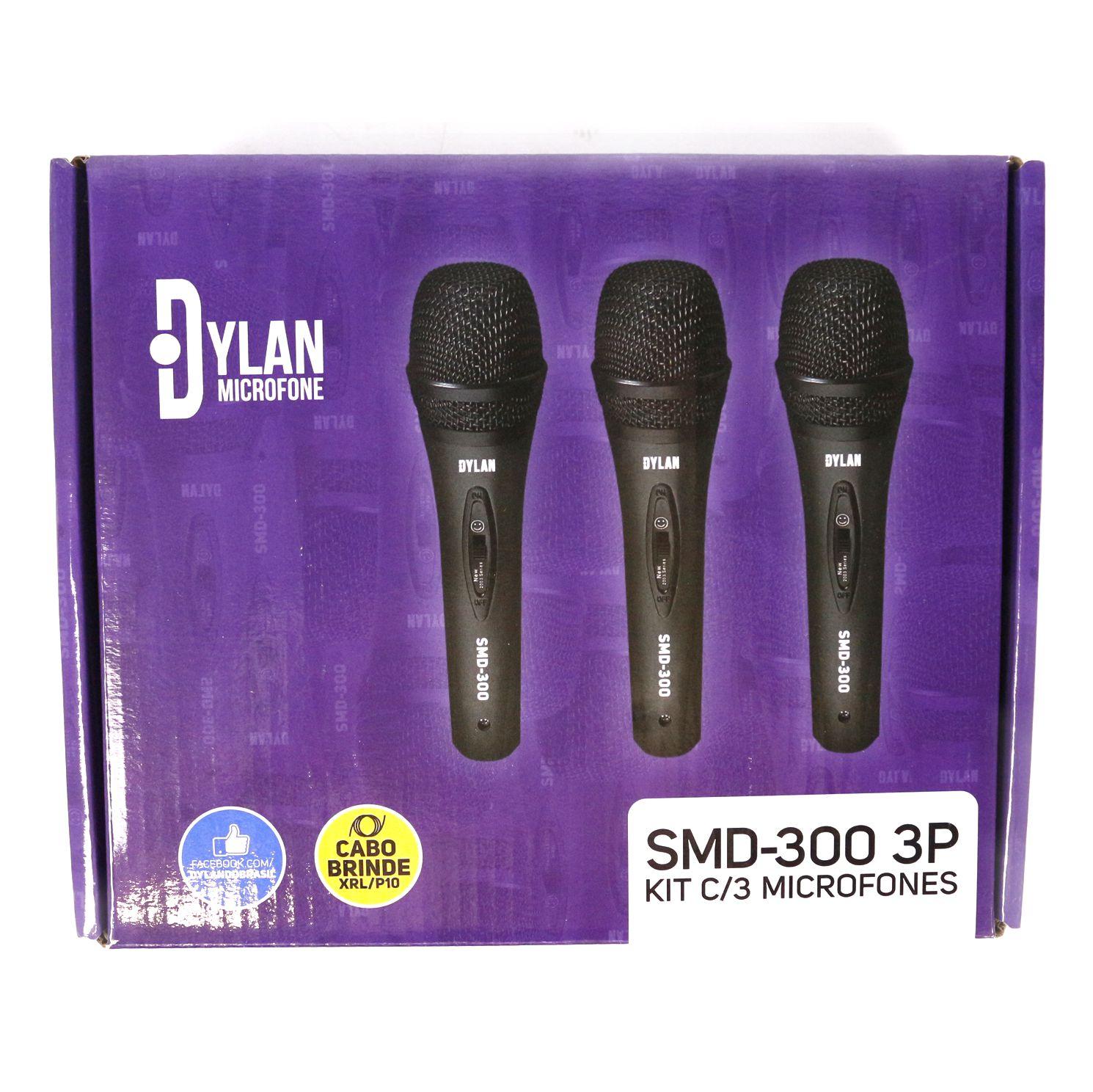 Kit com 3 Microfones Dinâmicos de Mão SMD 300 - DYLAN