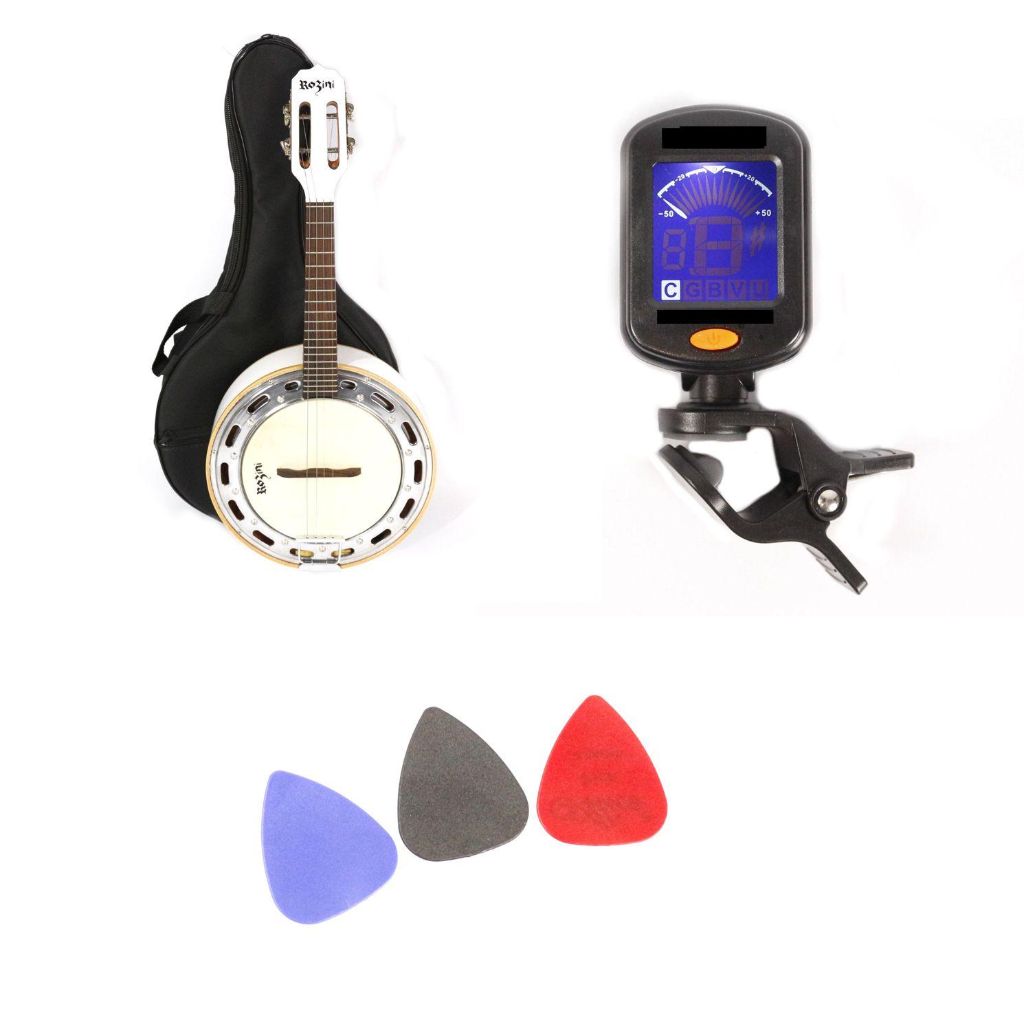 Kit com Banjo Rozini Studio Branco com Capa, Palhetas e Afinador RJ11 Branco
