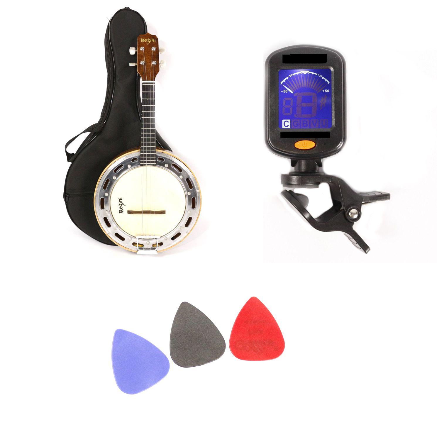 Kit com Banjo Rozini Studio Eletrico Natural Brilhante com Capa, Palhetas e Afinador RJ11 Natural Imbuia