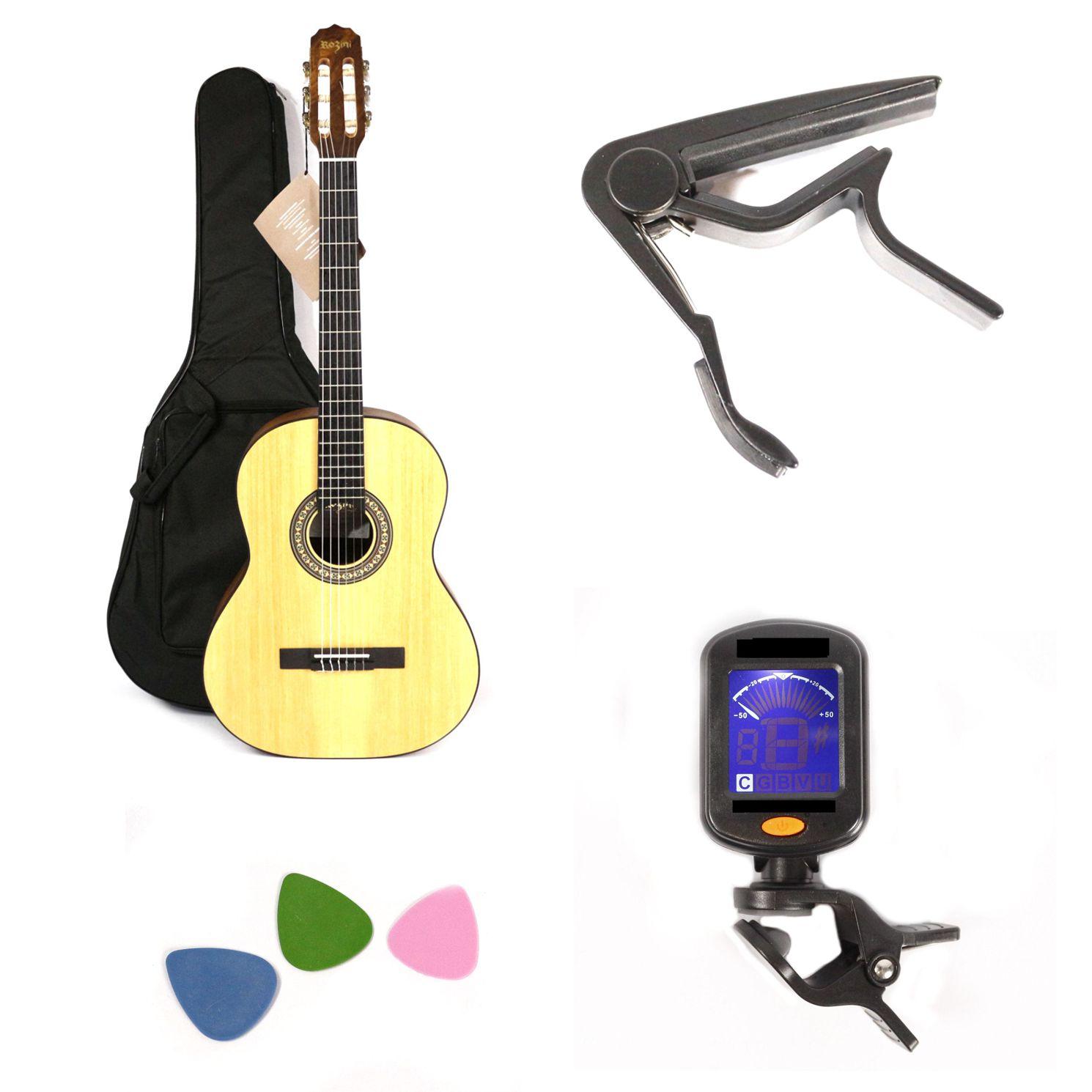 Kit com Violão NYLON Rozini Acústico RX201 Fosco com Capa EXTRA Luxo Afinador Capotraste e Palhetas