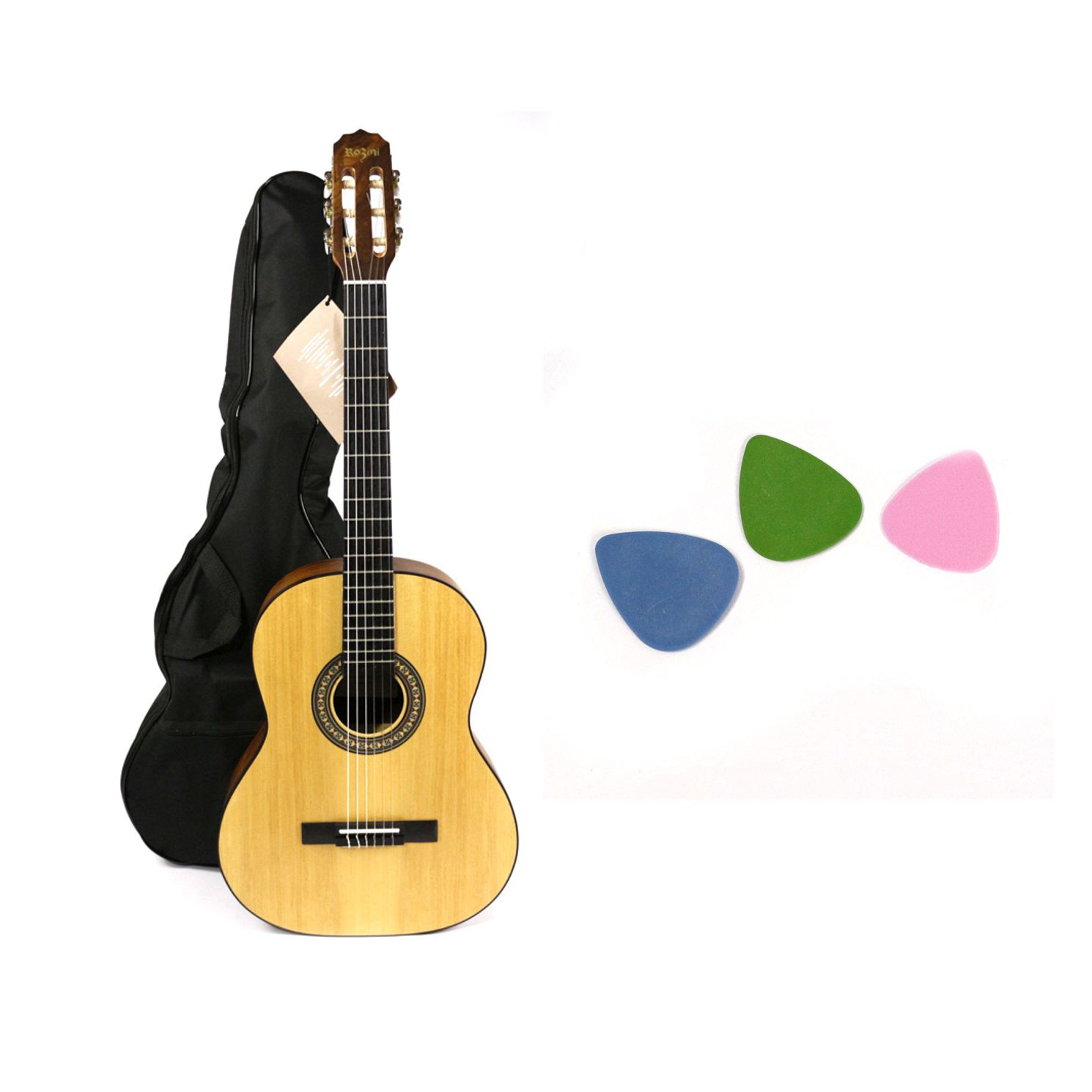 Kit com Violão NYLON Rozini Acústico RX201 Fosco com Capa Simples e Palhetas