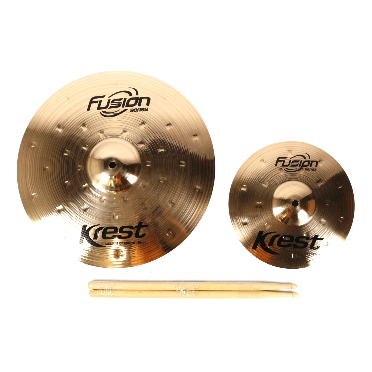 Kit de Pratos Fusion KREST CYMBALS Ataque 16 - SPLASH 10 - Bronze B8