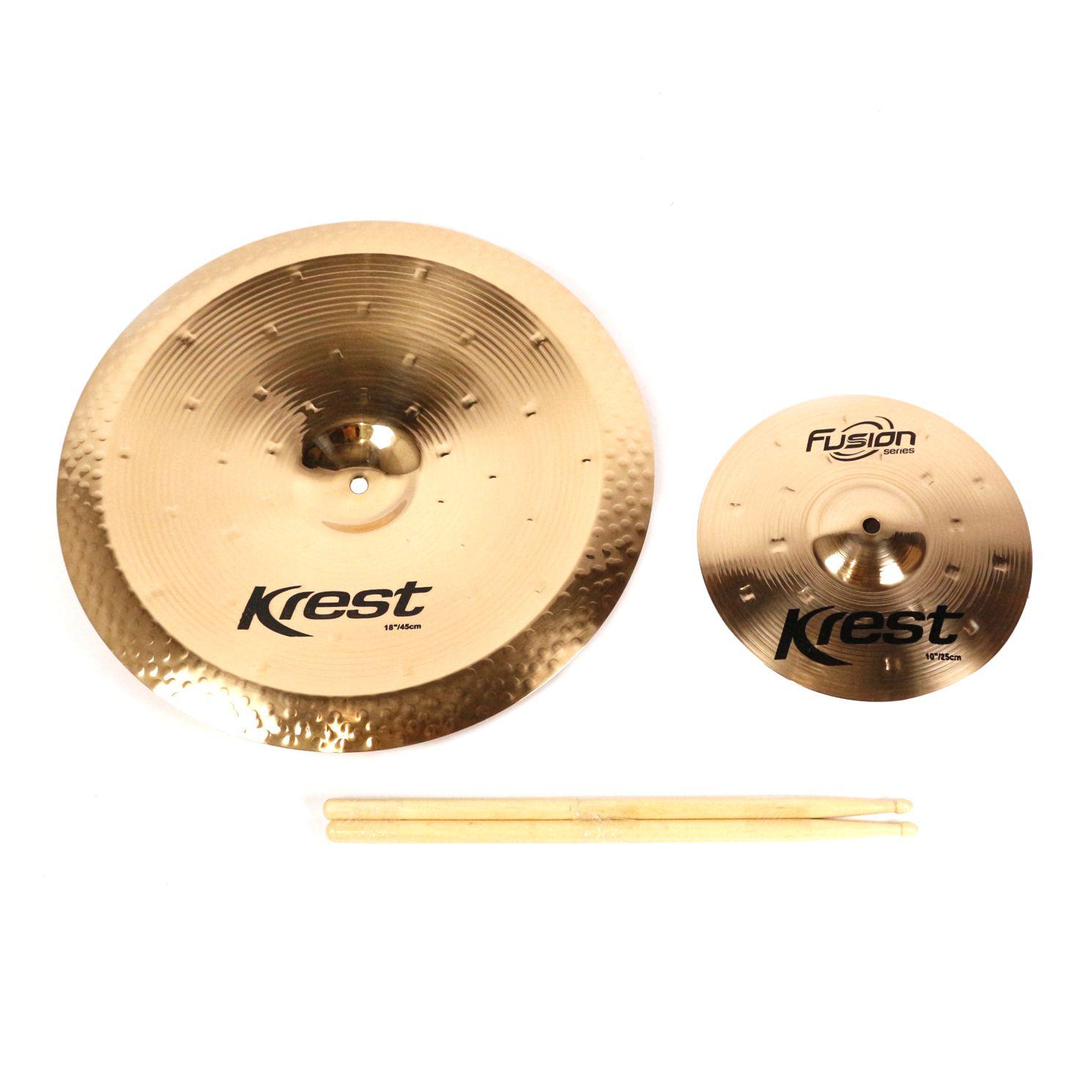 Kit de Pratos Fusion KREST CYMBALS China 18 - SPLASH 10 - Bronze B8