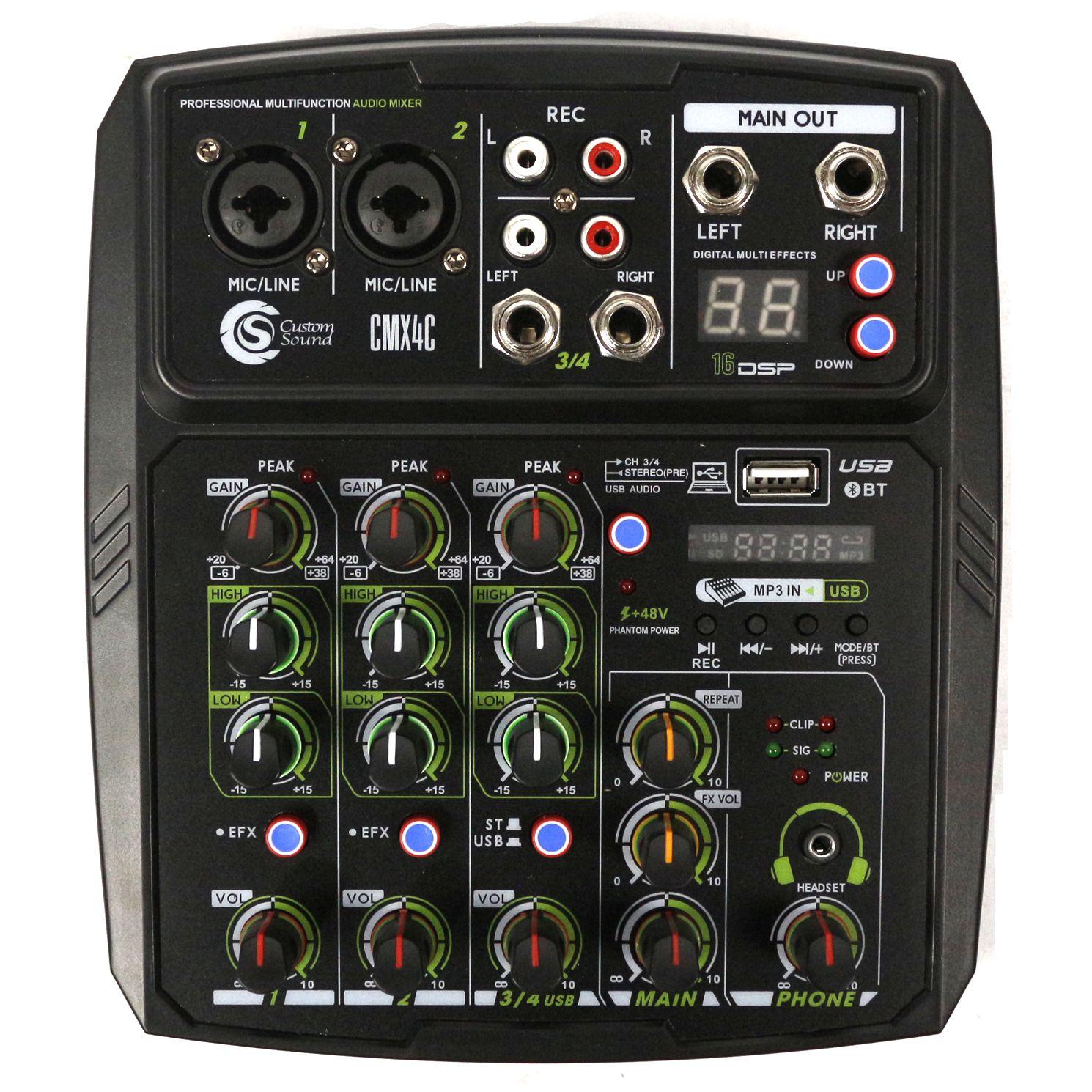 Mesa de Som com USB e Bluetooth Custom Sound 4 Canais - CMX4C Preto