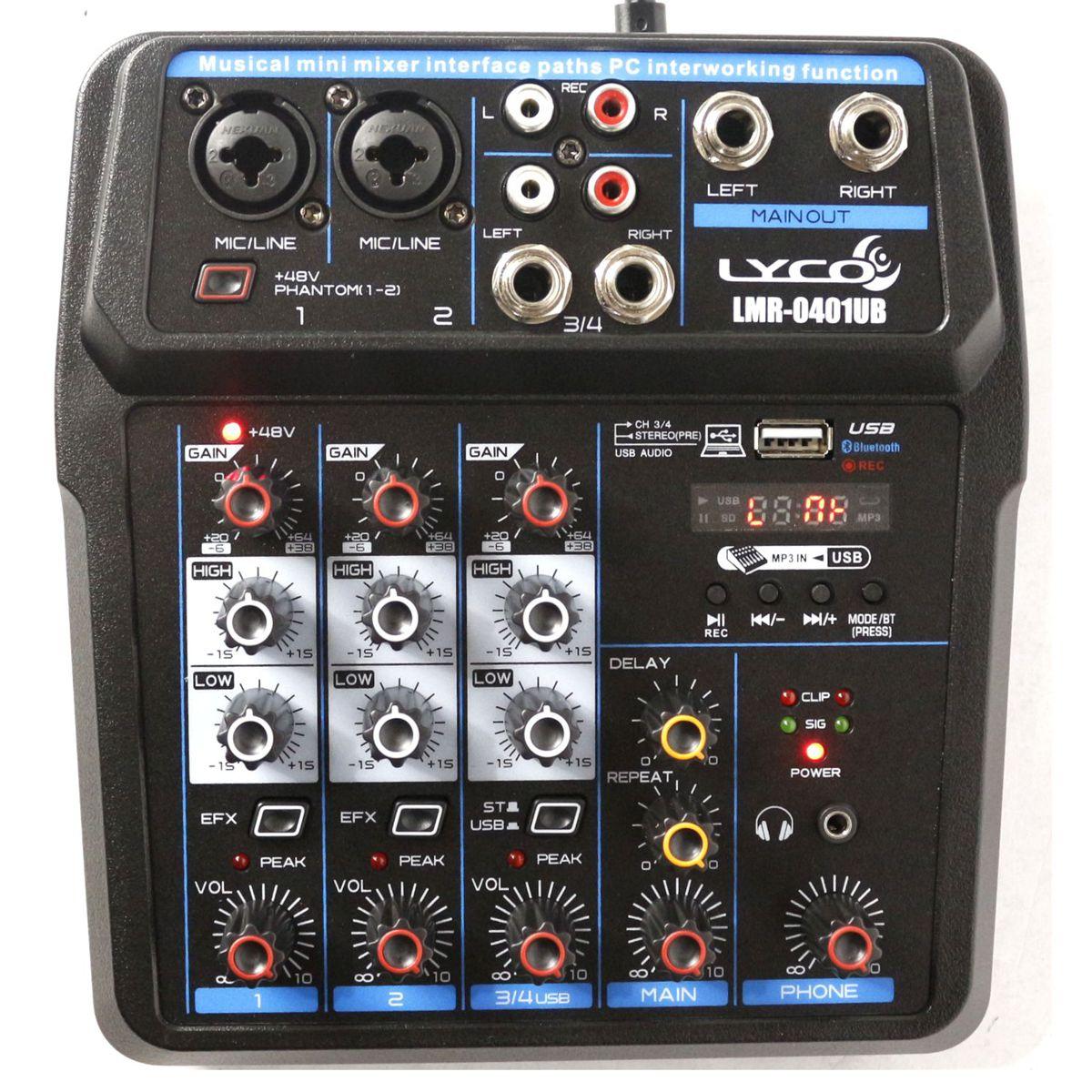 Mesa de Som com USB e Bluetooth LYCO 4 Canais - LMR-0401UB