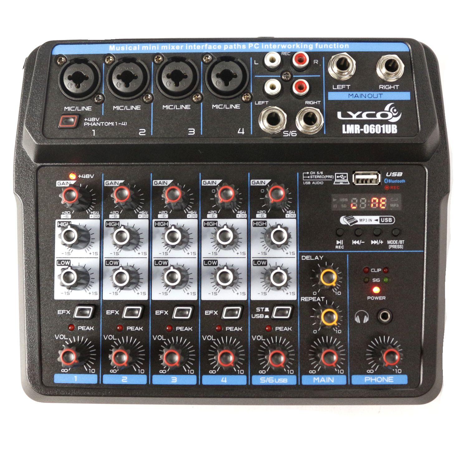 Mesa de Som com USB e Bluetooth LYCO 6 Canais - LMR-0601UB