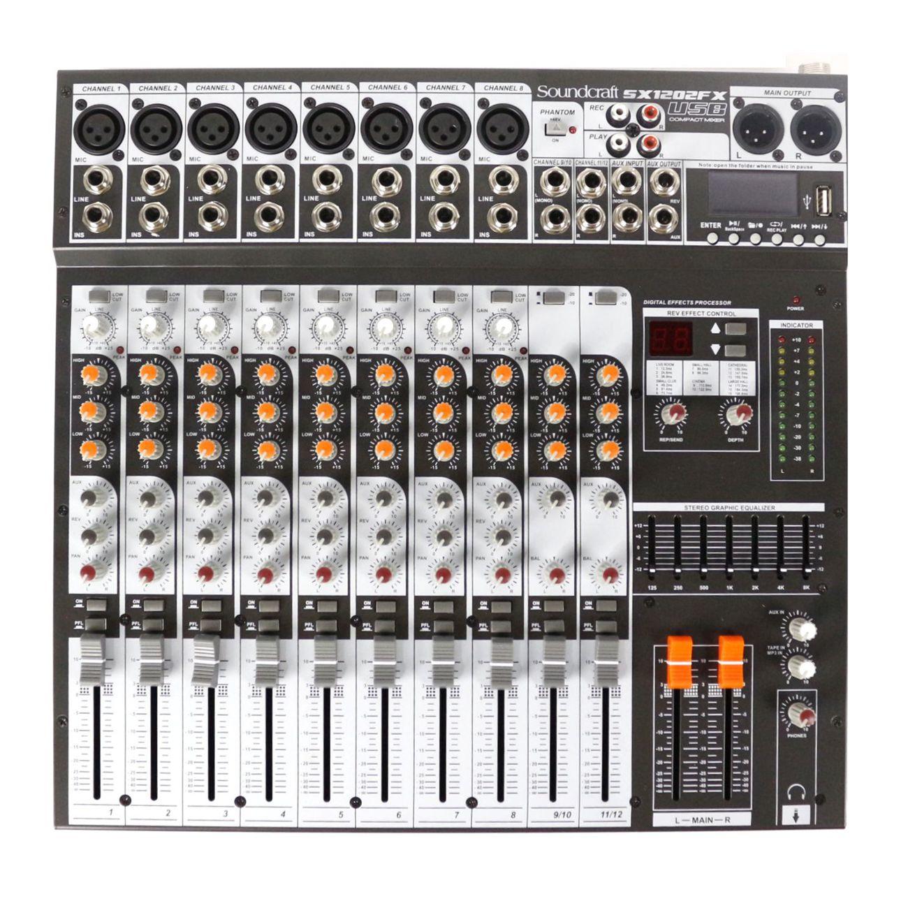 Mesa de Som com USB Harman Soundcraft 12 Canais SX1202FX