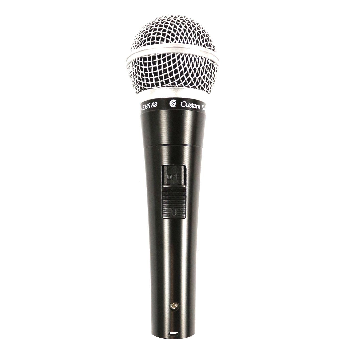 Microfone com Fio Cardióide Custom Sound CSMS58 Dinâmico