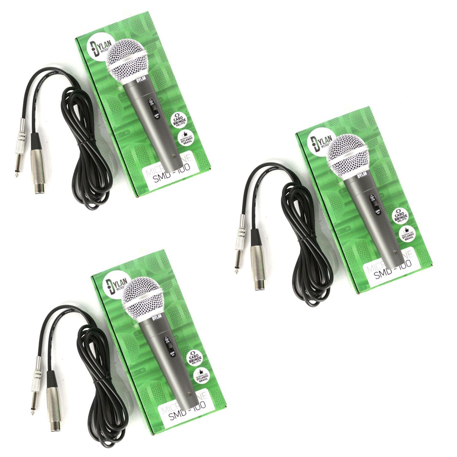 Microfone de Mão Profissional com Fio Dinâmico DYLAN - SMD-100 - 03 Unidades