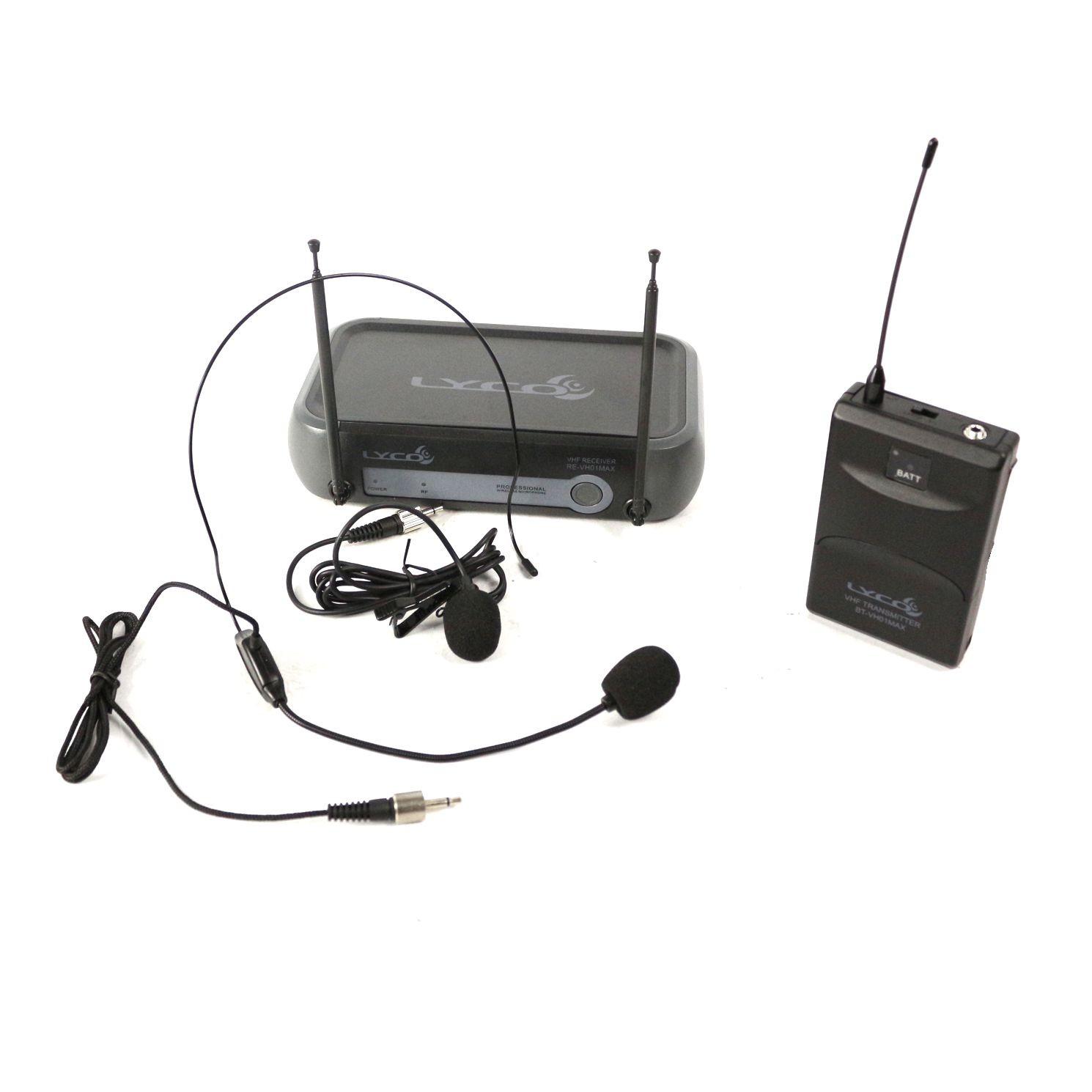 Microfone sem Fio Auricular e Lapela VHF Wireless VH01MAX-HL - LYCO