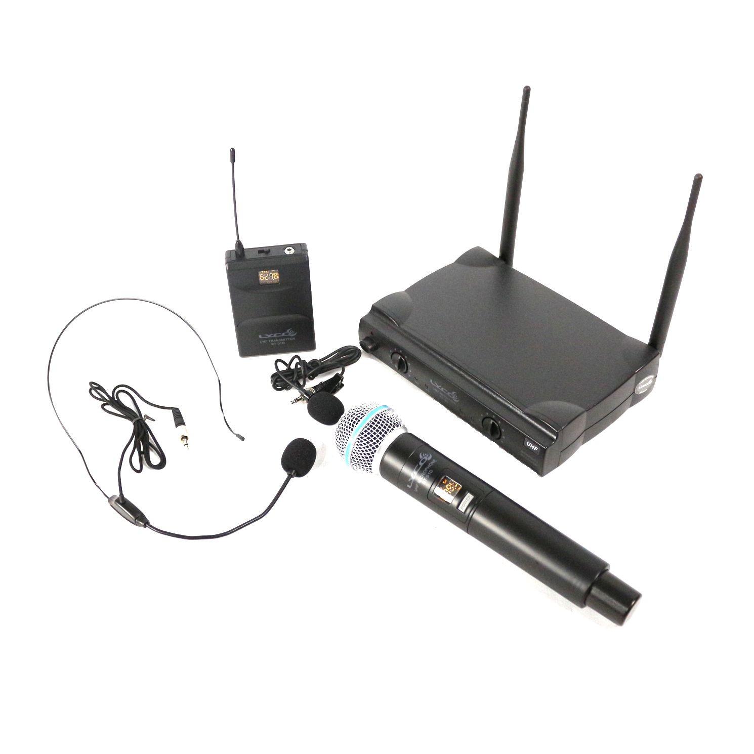 Microfone sem Fio de Mão e Lapela Headset LYCO - UH02MHLI