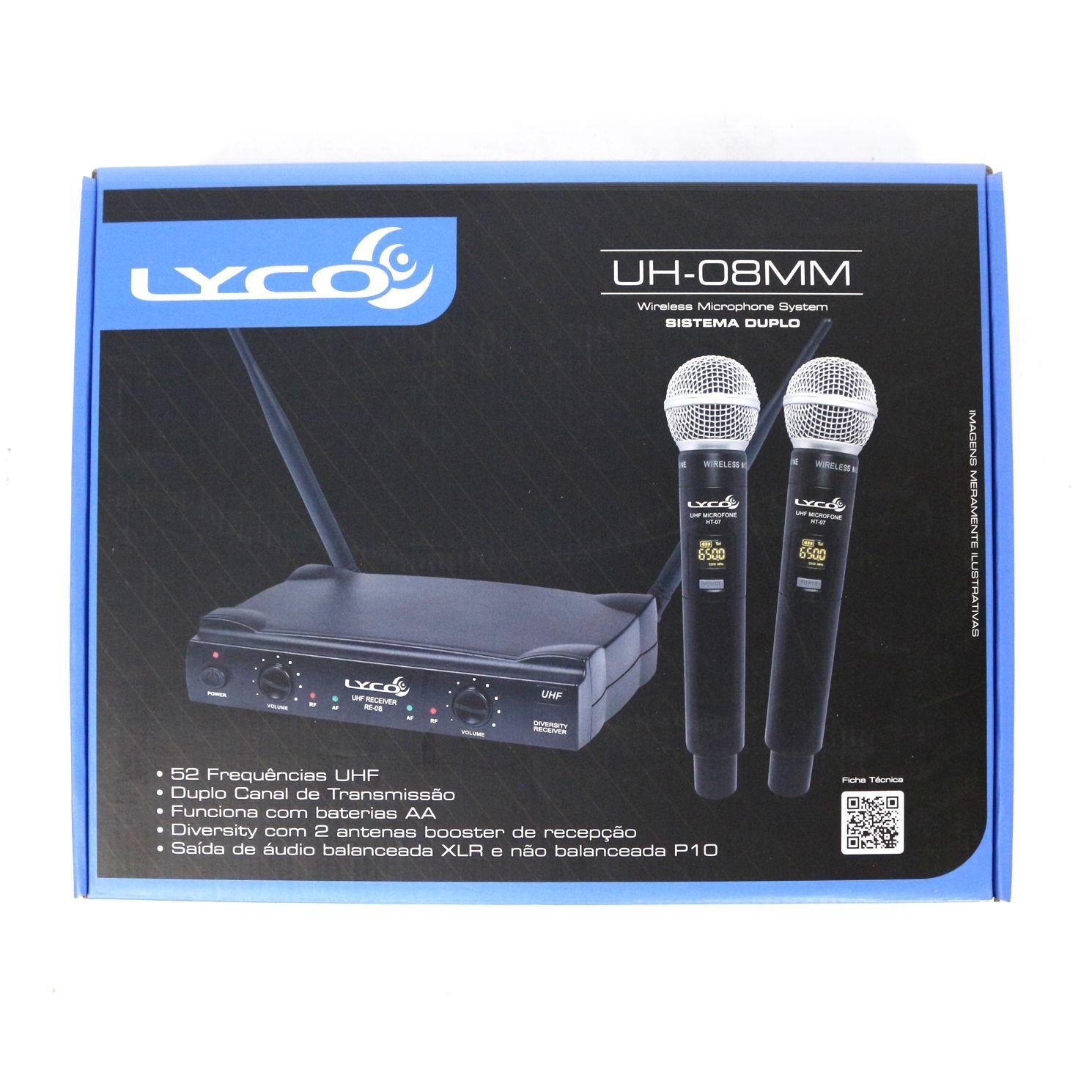 Microfone sem Fio Duplo de Mão LYCO - UH08MM