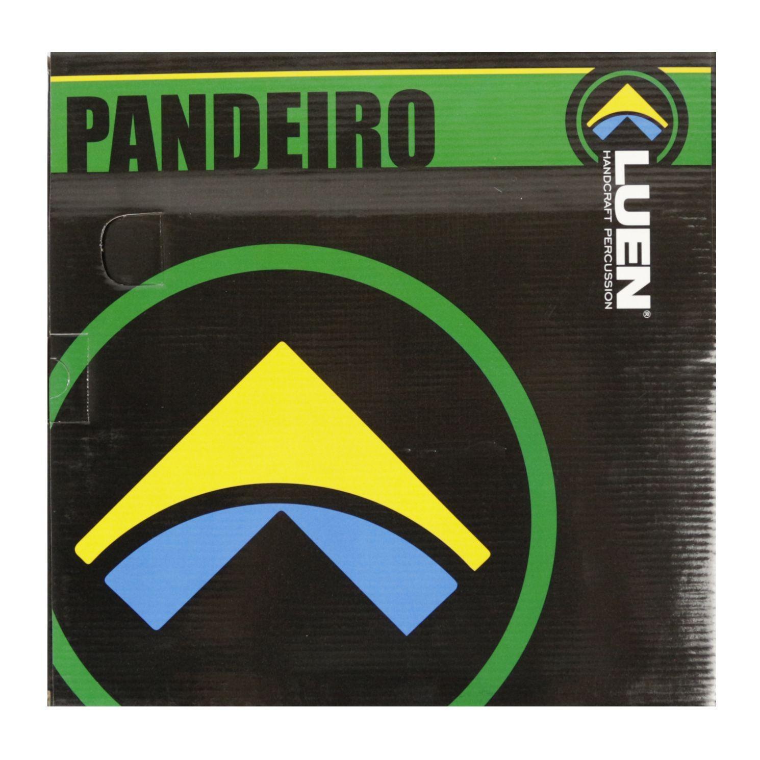 Pandeiro Luen 10 ARO em Madeira Branco e Pele Holográfica Prata