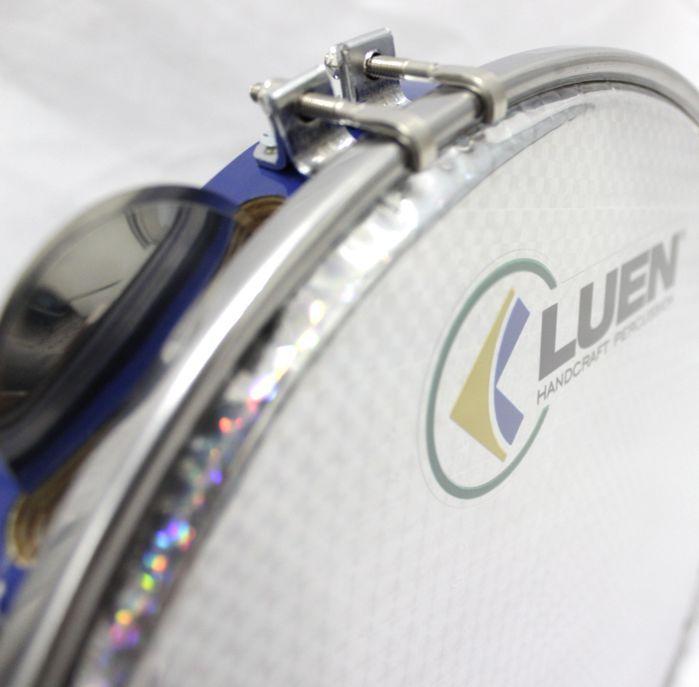 Pandeiro Luen 12 ARO em Madeira AZUL e Pele Holográfica Prata