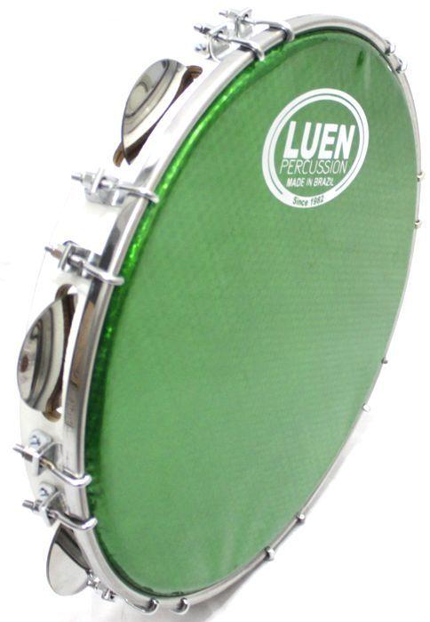 Pandeiro Luen 12 ARO em Madeira Branco e Pele Holográfica Verde
