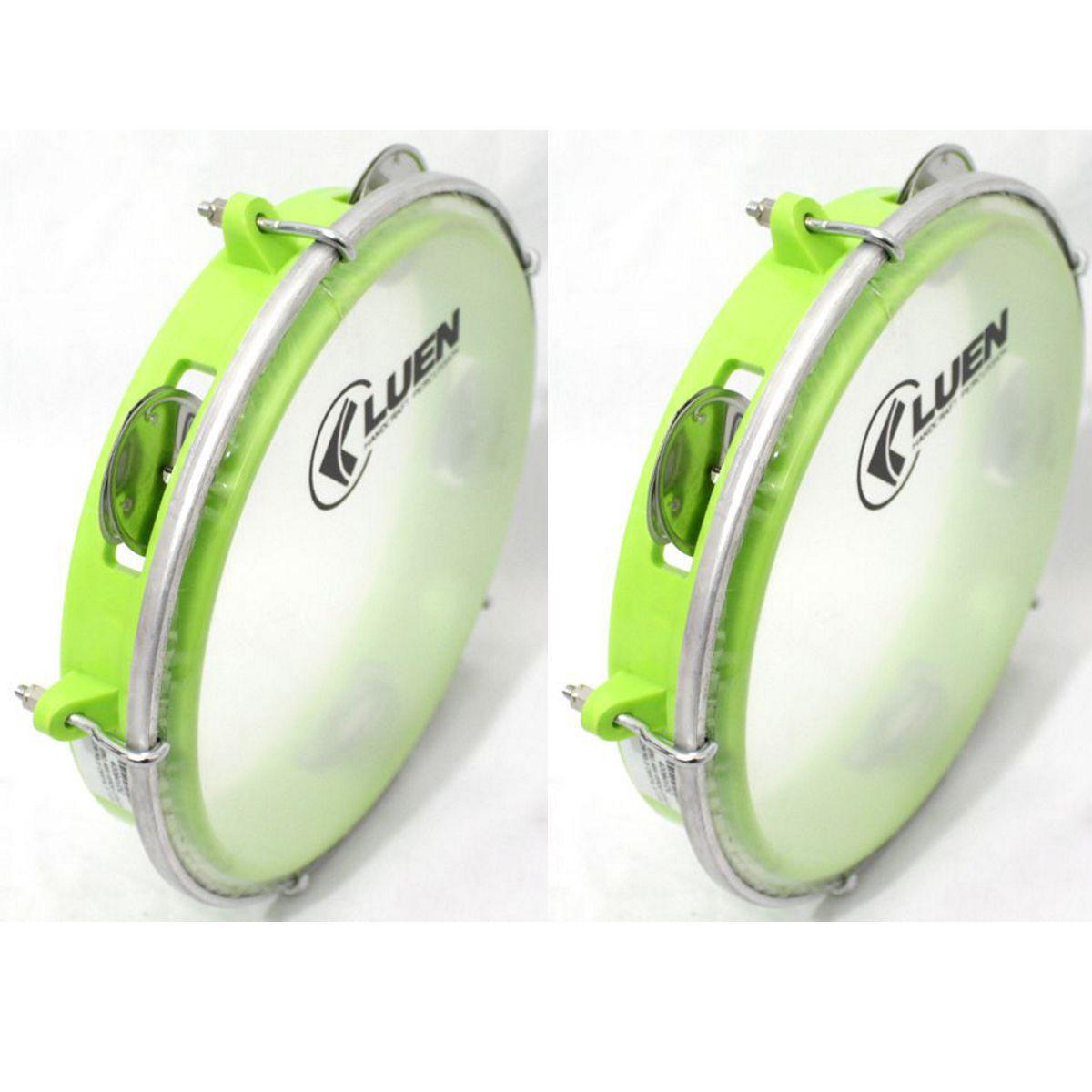 Pandeiro Luen 8 Junior ARO ABS Verde Pele Cristal - 40084VDC - Pacote com 02 Unidades