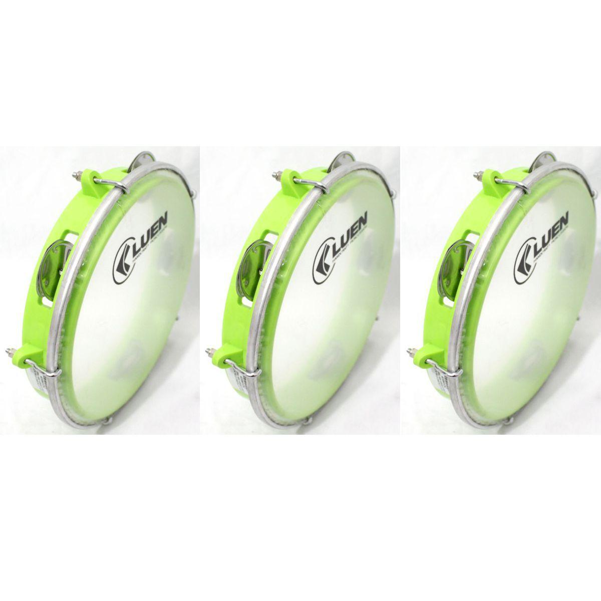 Pandeiro Luen 8 Junior ARO ABS Verde Pele Cristal - 40084VDC - Pacote com 03 Unidades