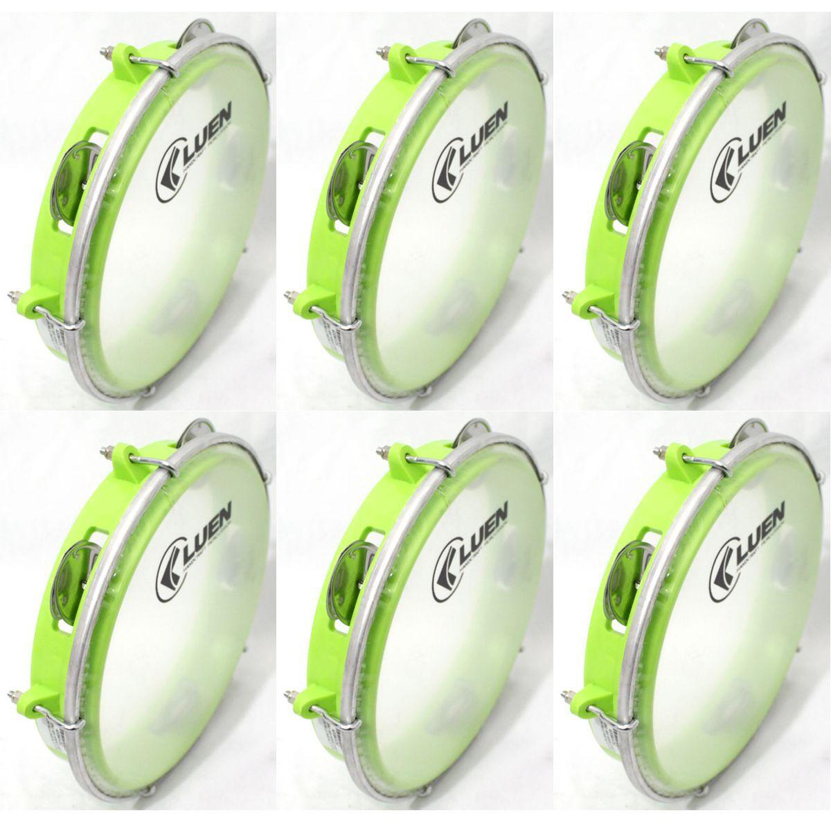 Pandeiro Luen 8 Junior ARO ABS Verde Pele Cristal - 40084VDC - Pacote com 06 Unidades