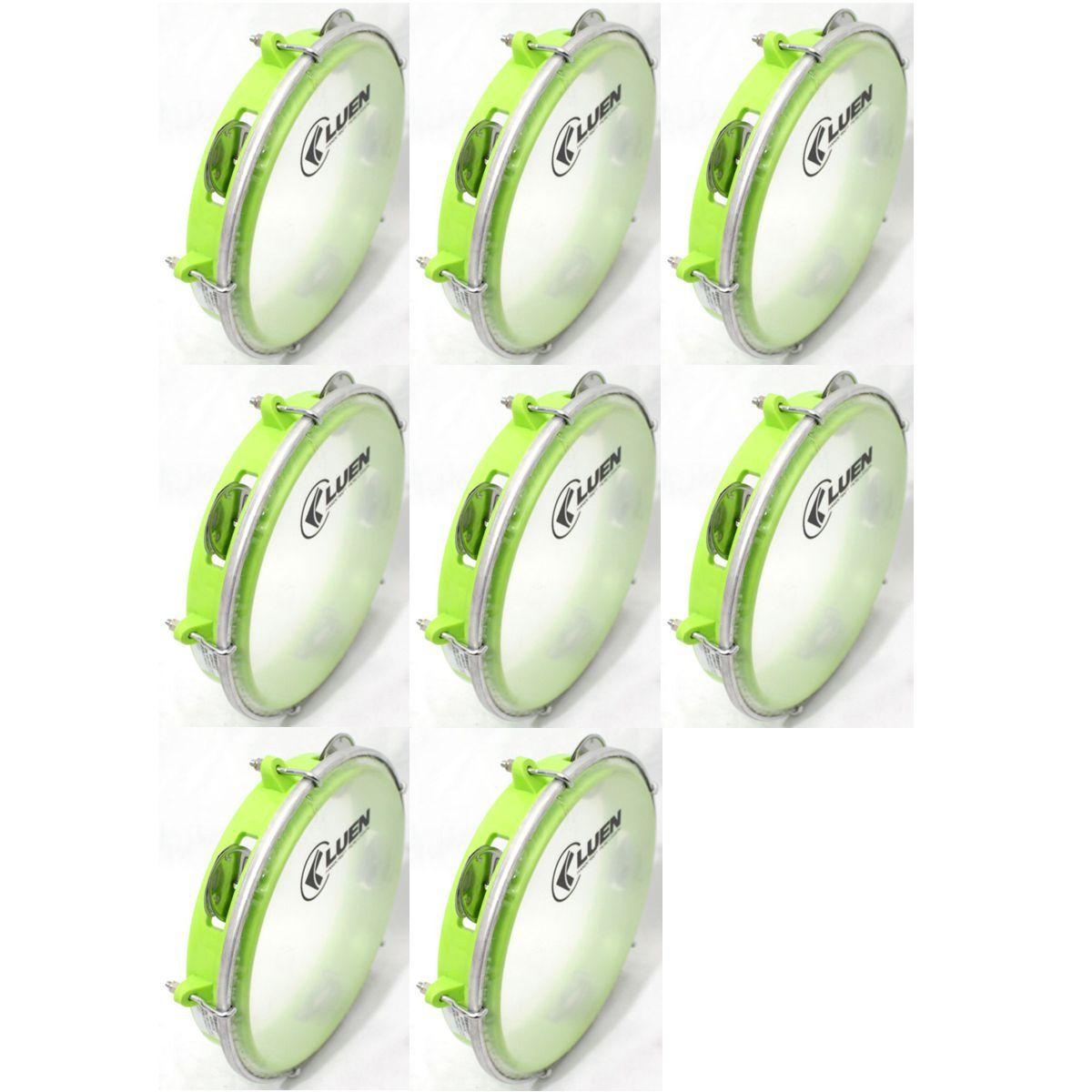 Pandeiro Luen 8 Junior ARO ABS Verde Pele Cristal - 40084VDC - Pacote com 08 Unidades