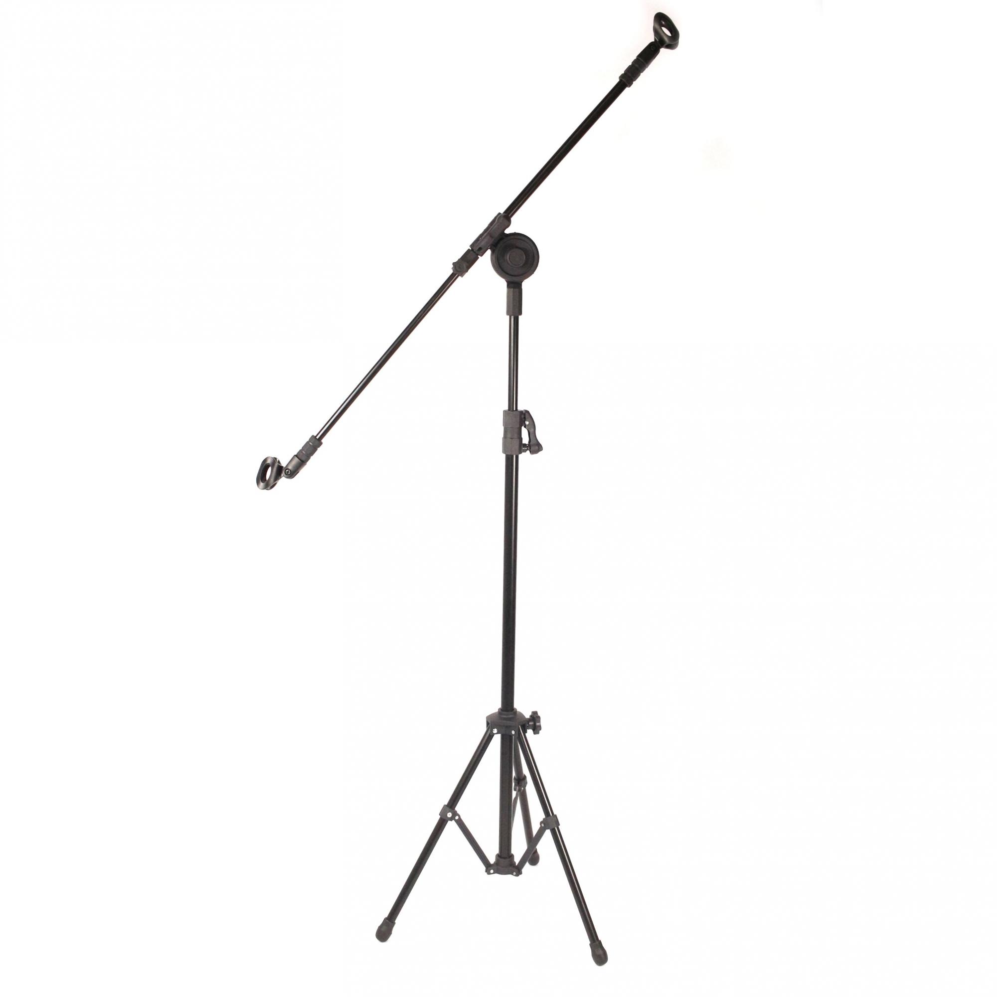 Pedestal de Microfone Girafa Visão para 2 MIC com Cachimbos - PE-3T-BK