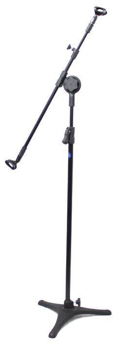 Pedestal de Microfone Visão com Base de Ferro para 2 MICS com 2 Cachimbos ASTE Telescópica VPE3FTBK