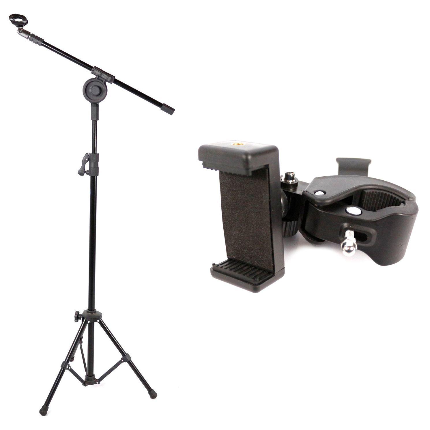 Pedestal de Microfone Visão para 1 MIC com Cachimbo com Suporte de Celular Custom Sound