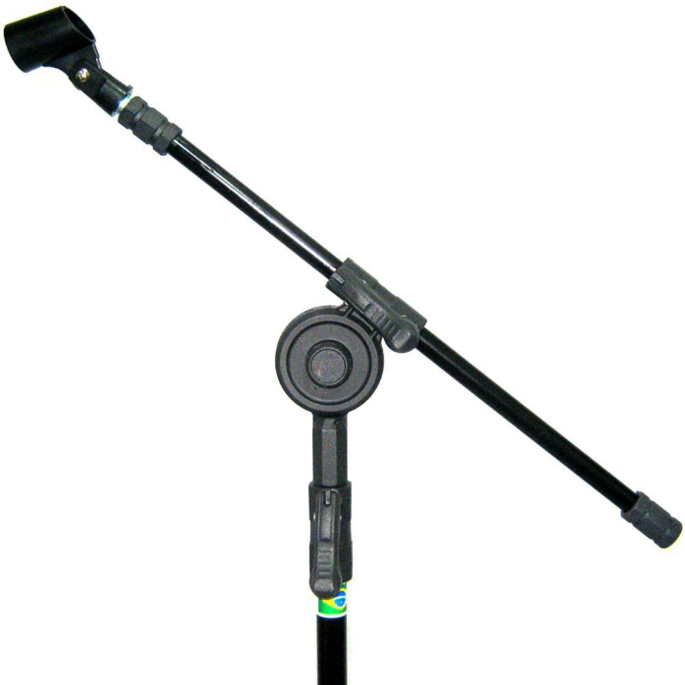 Pedestal de Microfone Visão para 1 MIC com Cachimbo - VPE2BK - Pacote com 4 Unidades