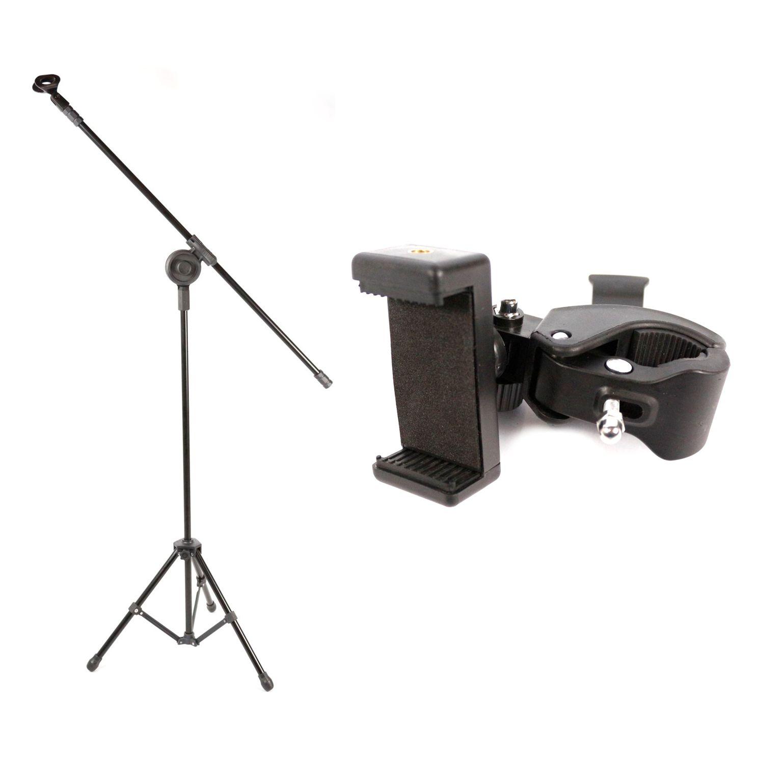 Pedestal de Microfone Visão para 1 MIC VPM-B BK com Suporte para Celular Custom Sound