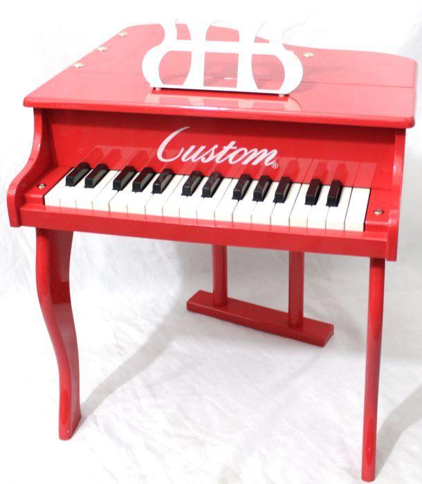Piano Infantil Caudinha - Piano de Cauda de Madeira Pequeno com Banquinho Custom Vermelho - PONTA DE ESTOQUE