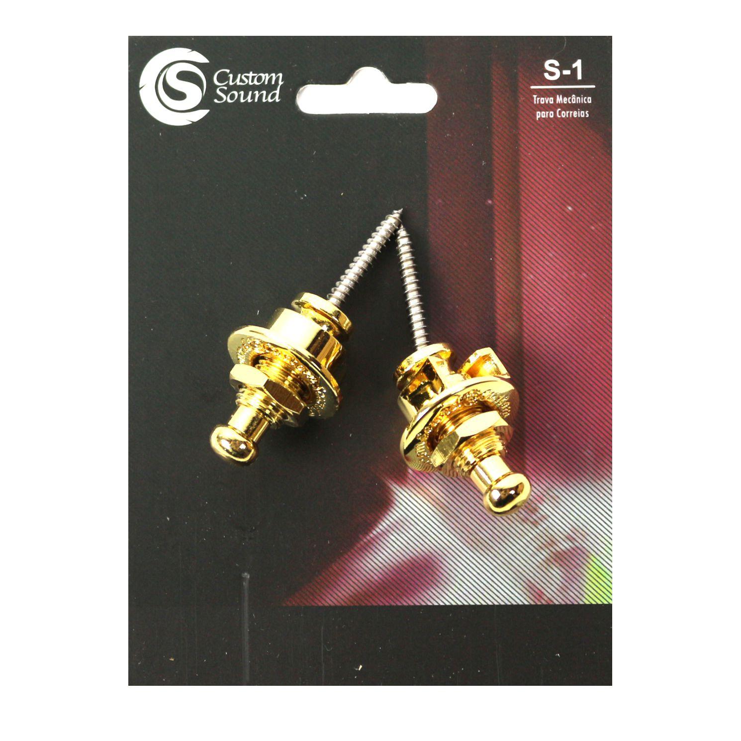 Strap LOCK Dourado para Guitarra Violão Baixo - Trava Mecanica para Correias - S-1 da Custom Sound - Dourado