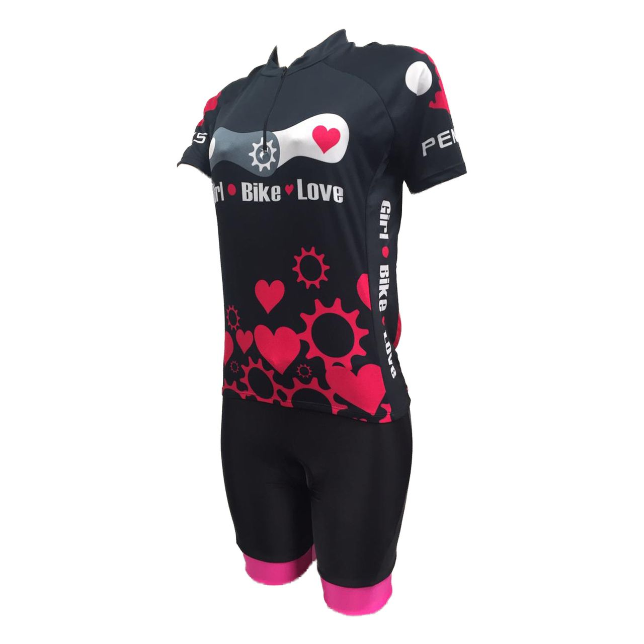 f3118020e Conjunto Feminino Bike Love Camisa e Bermuda Penks Rosa NETH Bikes ...