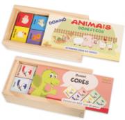 Kit Jogo de Dominó Madeira Cores e Animais Domésticos Infantil