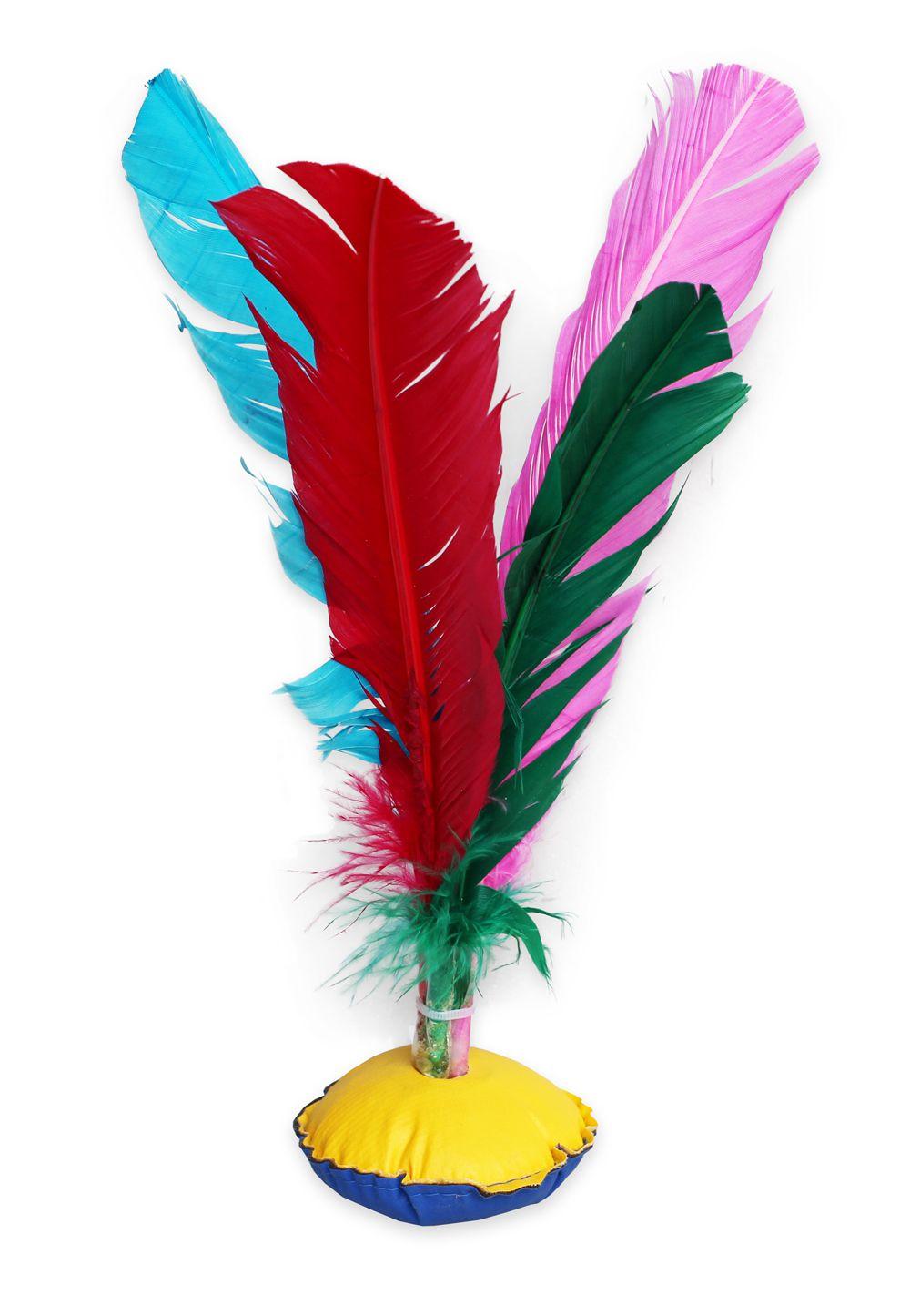 Kit 12 Petecas Grandes com Penas Coloridas