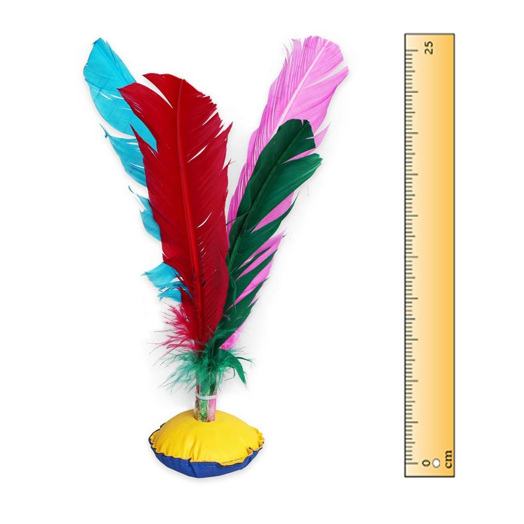 Kit 50 Petecas Grandes Com Penas Coloridas