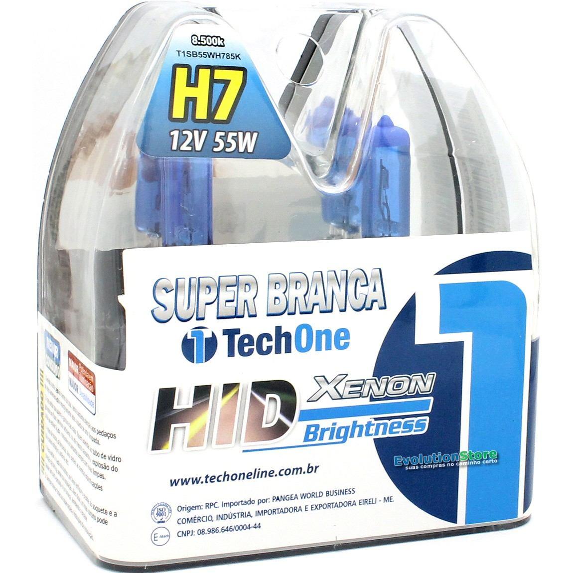 Lampada Super Branca H7 Techone 55w Efeito Xenon 8500k