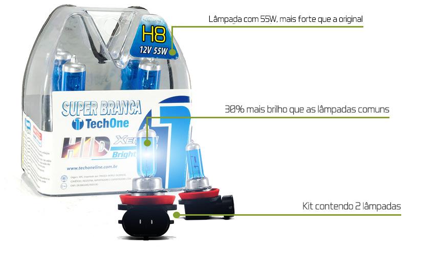 Lâmpadas Techone Super Branca H8 Efeito Xenon 8500k