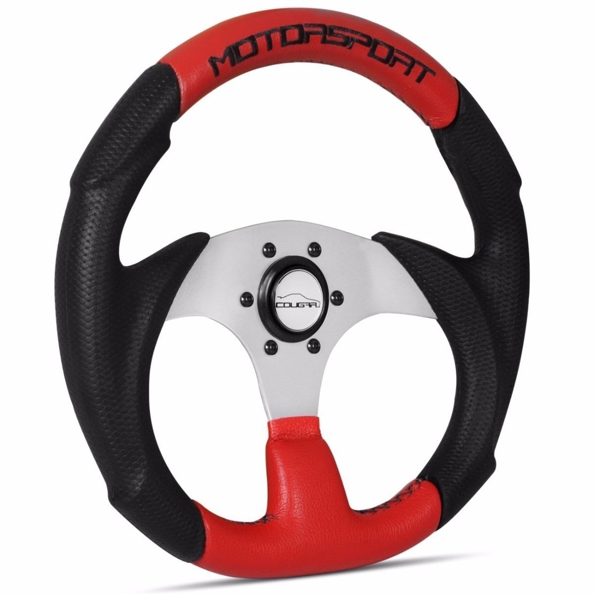 Volante Esportivo Tuning Motorsport Preto E Vermelho Cougar
