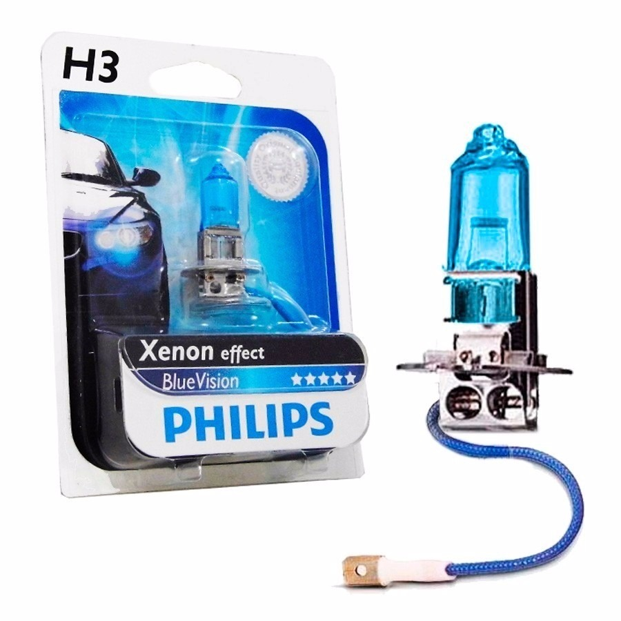 Lampada H3 Philips Blue Vision Efeito Xenon 4000k Carro Moto
