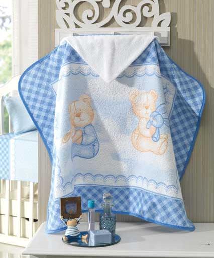 Toalha de Banho com capuz Angel Bear Azul Dohler