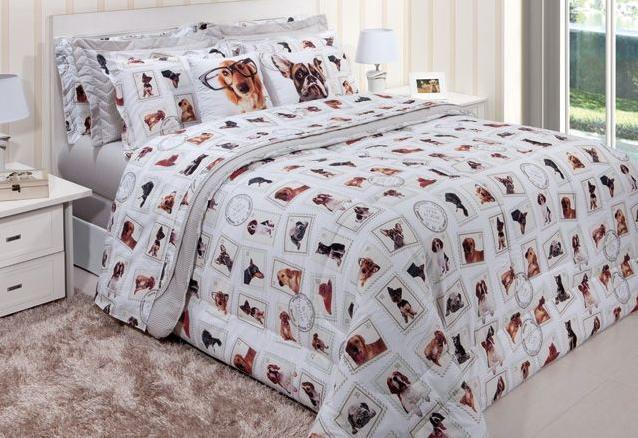 Edredom Innovi Solteiro 150 fios Dogs - Kacyumara