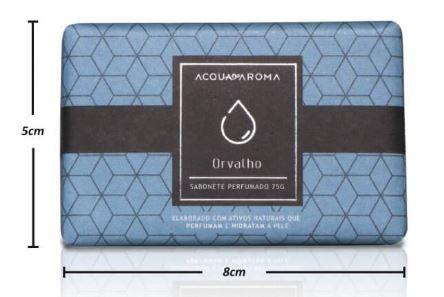 2 Sabonetes Perfumados em Barra 75g Orvalho Acqua Aroma