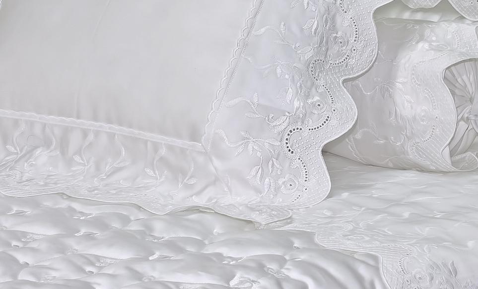 Fronha Ibiza 50cm x 90cm Branco 400 fios Artelassê