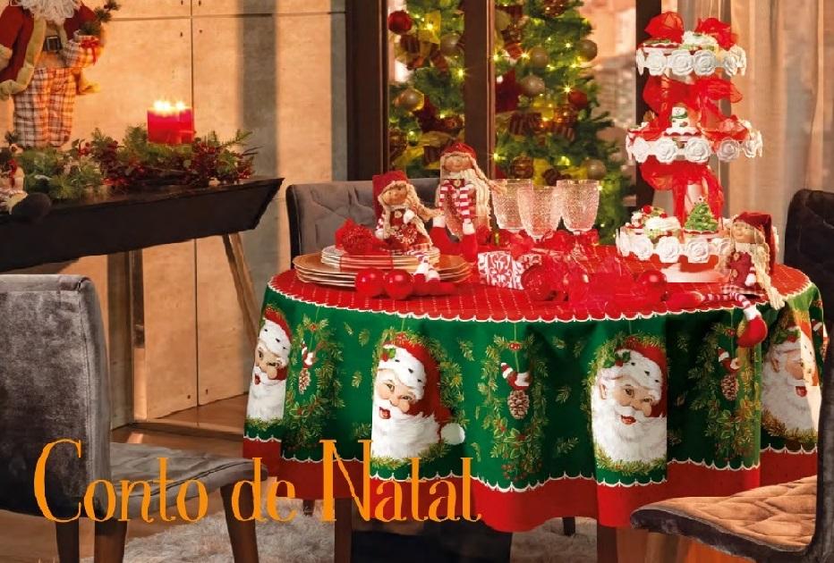 Toalha de Mesa Redonda 6 lugares Conto de Natal Karsten