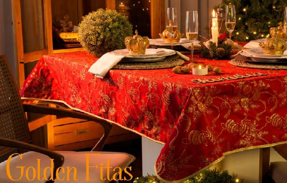 Toalha de Mesa Redonda 6 lugares Golden Fitas Karsten